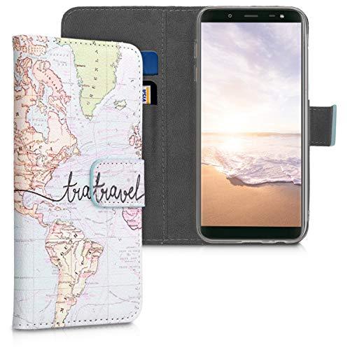 kwmobile Custodia Compatibile con Samsung Galaxy J6 - Cover Magnetica Portafoglio con Stand in Simil Pelle - Case Porta Carte - Mappa del Mondo Nero/Multicolore
