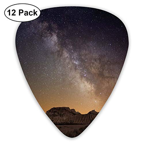 Guitar Picks12pcs Plectrum (0.46mm-0.96mm), Milky Way Over Desert Of Bardenas Spain Ethereal View Hills Arid Country,For Your Guitar or Ukulele