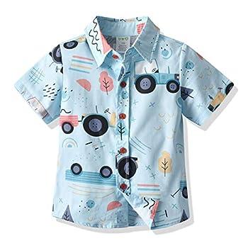 Toddler Baby Boys Hawaiian Shirts Button Down Short Sleeve Striped Plaid Print Bow Tie Casual Tops T-Shirt  Blue Car 12-18 Months