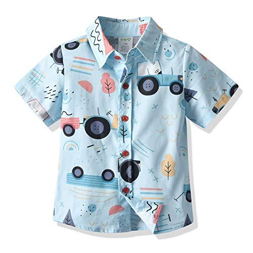 ZZLBUF Kleinkind Baby Jungen Button Down Hawaii-Hemden Kurzarm Gestreift/Plaidprint Aloha Casual Tops T-Shirt Gr. 2-3 Jahre , #5 Auto