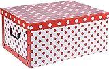 Caja de cartón con 2 asas y tapa, 51 x 37 x 24 cm, con 45 litros de capacidad (blanco - rojo)
