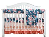 Coral Navy Floral Baby Crib Bedding Set Minky Blanket Crib Rail Cover Peach