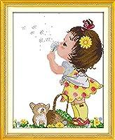 刺繡スターターキット刻印クロスステッチキット初心者向けタンポポの女の子DIY11CT刺繡簡単面白いプレプリントパターン16x20インチ