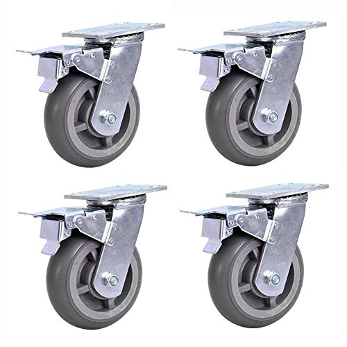 Barm Ruedas de 4/5/6 pulgadas – Ruedas giratorias de goma con doble bloqueo de seguridad, juego de 4, ruedas de transporte industrial de PVC resistente de 800 kg
