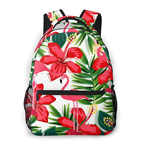 Boys Girls Casual Backpack,Men Women Daypack,Lightweight College Book Bags,Laptop Bags,Adult Travel Rucksack,Colorful Flamingo