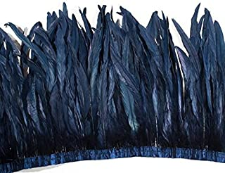 Schuman Feathers, Rooster Cocktails, Coque, 12 inches Long, Feathers for Dance, Costume and Millinery, by The Yard … (Navy Blue)