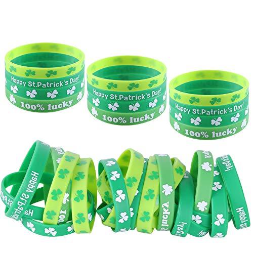 DesignerBox 24 pulseras de trébol irlandés de silicona para Día de San Patricio, pulseras de trébol de goma verde para fiestas temáticas de San Patricio (24 unidades)