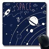 Jamron Mousepad OblongHand Print Boy Mars Dibujo Earth Technology Kid Space Doodle Vintage Travel Sky Drawn Design Set Alfombrilla de goma antideslizante Alfombrilla de ratón Ordenador de oficina Jueg
