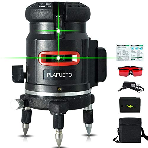 PLAFUETO Green Beam 5 Line Laser Level 4 Vertical 1 Horizontal Line Cross Line with Enhancement Dot Alignment Selfleveling Laser Tool 360° Rotating Base Foamed Carrying Case