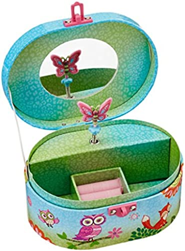 Hot Focus Owl Fox Ovale Form Musical Jewelry Box
