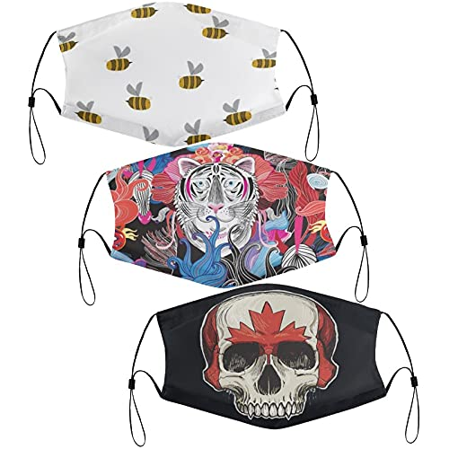 Vmilcfke 3 Pcs Kids Face Mouth Cover for Girls Boys Balaclava Bees at Work Random Canada Flag Skull Bright Floral Back to School Supplies Adjustable Face Masks Set Gifts 6 PCS Filters