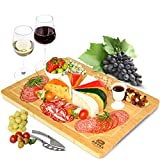 Extra Large Bamboo Cheese Board and Charcuterie Boards/Serving Tray with Built-In Compartments and Juice Groove for Cheese, Meat and Fruit (12 x 18')