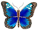 The Paragon Garden Decor - Butterfly Patio Wall Decoration, Metal Glass Sculpture, Indoor Outdoor Wall Art