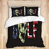 Aliciga Set Copripiumino in Microfibra con Due Federa,Sport da Golf con Teschio Bandiera Americana,Set Biancheria da Letto,220x240