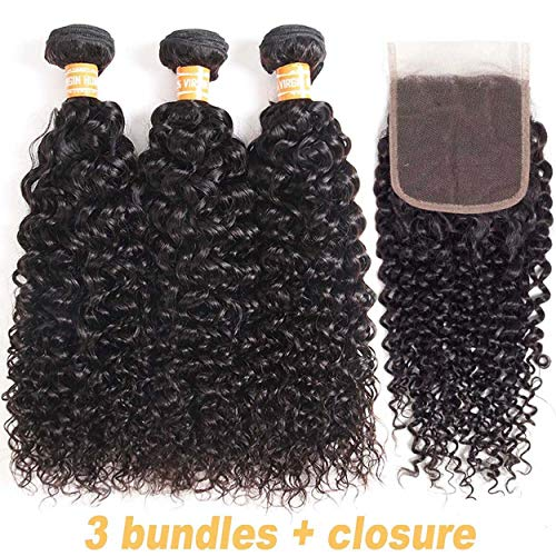 """SingleBest Brésilienne Meche Perruque Cheveux Kinky Curl Naturelle Tissage Bresilien en lot avec Closure (8""""8""""8"""" + 8"""")"""