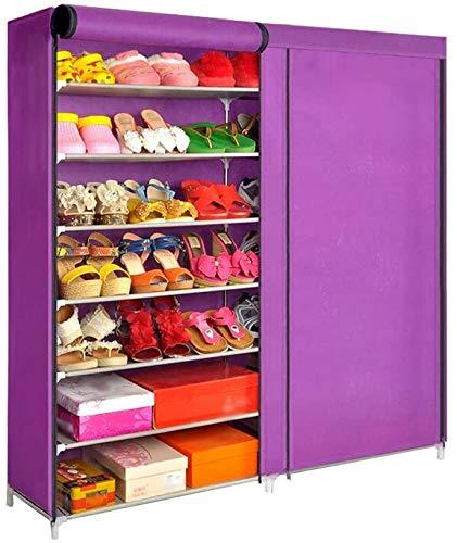 Rack de zapatos Rack de zapatos de 7 capas con cubierta de polvo Armario Zapato de zapatos Mueble de almacenamiento Longitud 118 cm * Ancho 29.5cm * Altura 123.5cm Organizador de almacenamiento de zap