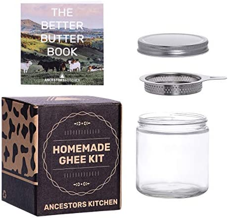 Ancestors Kitchen Ghee Strainer and 16oz Glass Storage Jar with Fine Stainless Steel Mesh Filter product image