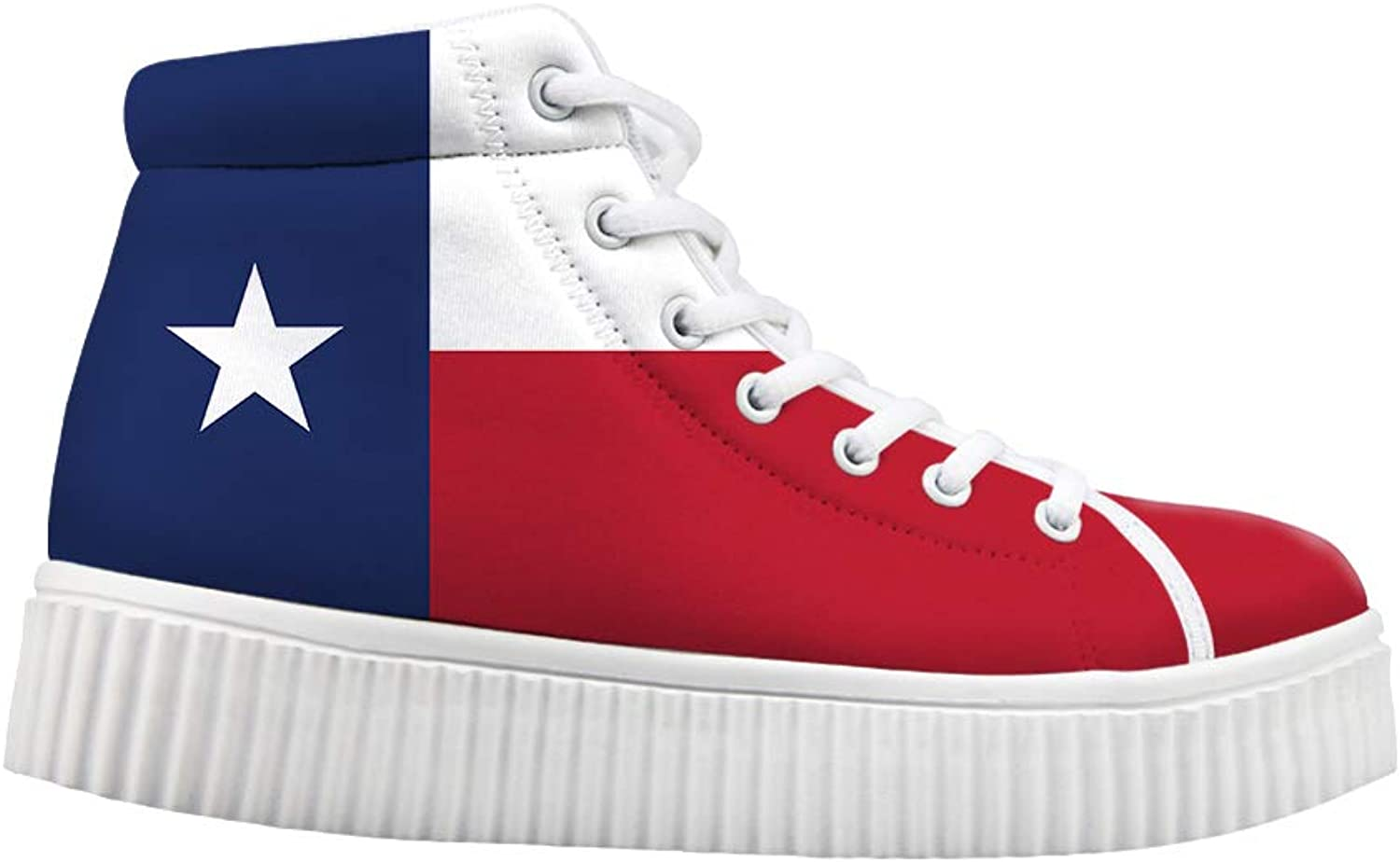 Owaheson Platform Lace up Sneaker Casual Chunky Walking shoes Women Texas Flag