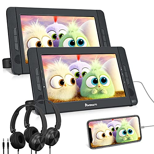 NAVISKAUTO Double Lecteur DVD Portable Voiture Ecrans Appuie-tête de 10,1 Pouces pour Enfants Autonomie de 5 Heures Supporte HDMI Input USB SD MMC Dernière mémoire (Un Lecteur DVD et Un Moniteur)