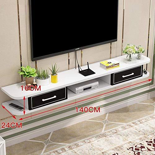 ZXYY Tv-meubel, wandrek, drijvende planken, wandplank, set top box, dvd-speler, router, kleine elektronische voorwerpen, rek, wandkast, decoratie, TV-meubel (Co 140cm-black