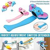 Prolunga interruttore rubinetto Cartoon, prolunga impugnatura lavello antispruzzo, strumento estensione rubinetto carino aiutare bambini a lavarsi le mani (2 maniglie+2 ugello casuale) (Blue+Rosa)