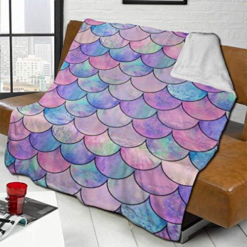 ZHENGYUAN Manta de forro polar con escamas de pez, gruesa, alfombra de salón, colcha para mujeres, suave colchoneta para dormir para toda la temporada, 80 × 60 cm