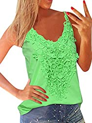 【 Features 】: Sexy Sleeveless,Spaghetti Strap Camisole,V Neck Vest Tank Tops,Sexy Cami,Lace Crochet Stitching On The Ftont , Casual Design Manifest Your Slim Figure,Solid Color,Casual Loose Beachwear,Relaxed Fit,Suit For Summer Wear. 【 Occasion 】: Pr...