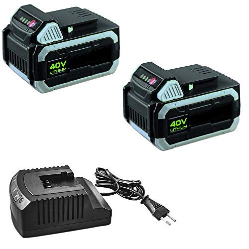 IKRA 17180929-AZ4 Kombipack 2 Batterien & Ladestation 40 V 2,5Ah Li-Ion Akkus Ersatzakkus & Standard-Ladegerät ONE FOR ALL, schwarz