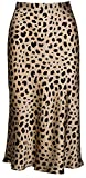 Keasmto Leopard Midi Skirt Plus Size for Women High Waist Silk Satin Elasticized Skirts S
