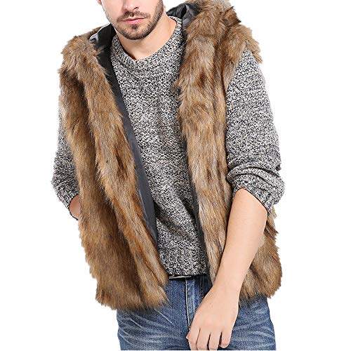 Mannen Faux Bont Vest Jacket Dikke Gilet Klassiek, Mouwloos Winter Lichaam Warm Jas Hooded Taillejas Bovenkleding Sweater Plus Size
