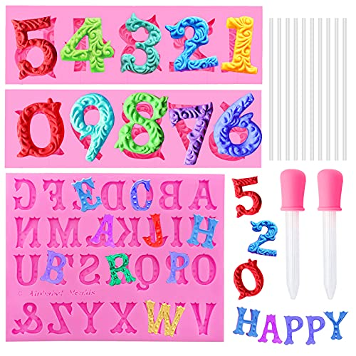 Silicone Molds, Chocolate Gummy Molds for Baking, Number 0-9 & Alphabet A-Z 3D Embossed Letter Number Molds with 10 Pcs Lollipop Sticks & 2 Droppers for Birthday, Party, Anniversary, Festival