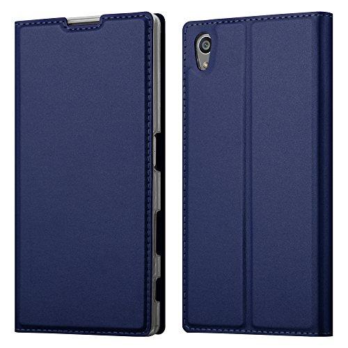 Cadorabo Hülle für Sony Xperia Z5 in Classy DUNKEL BLAU - Handyhülle mit Magnetverschluss, Standfunktion & Kartenfach - Hülle Cover Schutzhülle Etui Tasche Book Klapp Style