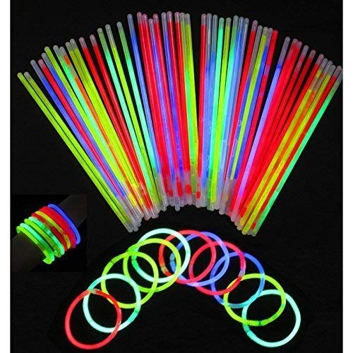 100 Glow Sticks Bulk Party Supplies - Glow in The Dark Fun Party Pack with 8' Glowsticks and Connectors for Bracelets and Necklaces for KDs and Adults
