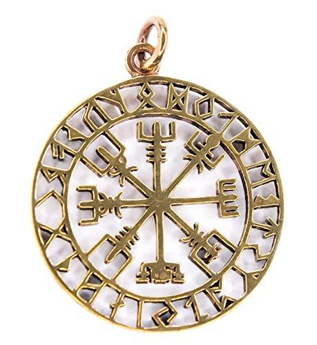 Windalf Großer Wikinger Schutz-Anhänger ODINSØN Ø 3.6 cm Vikings Vegvísir Kraft Amulett Wikinger Schmuck Hochwertige Bronze