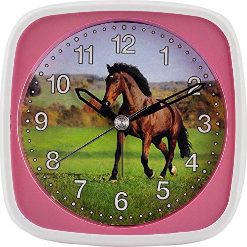 Preisvergleich Produktbild Kinderquarzwecker Farbenfrohes Pferde-Motiv Schleichende Sekunde ermöglicht den Kleinsten einen ungestörten Schlaf Inkl. LICHT und WECKWIEDERHOLUNG Maße: 95 x 95 x 45 mm (Rosa)