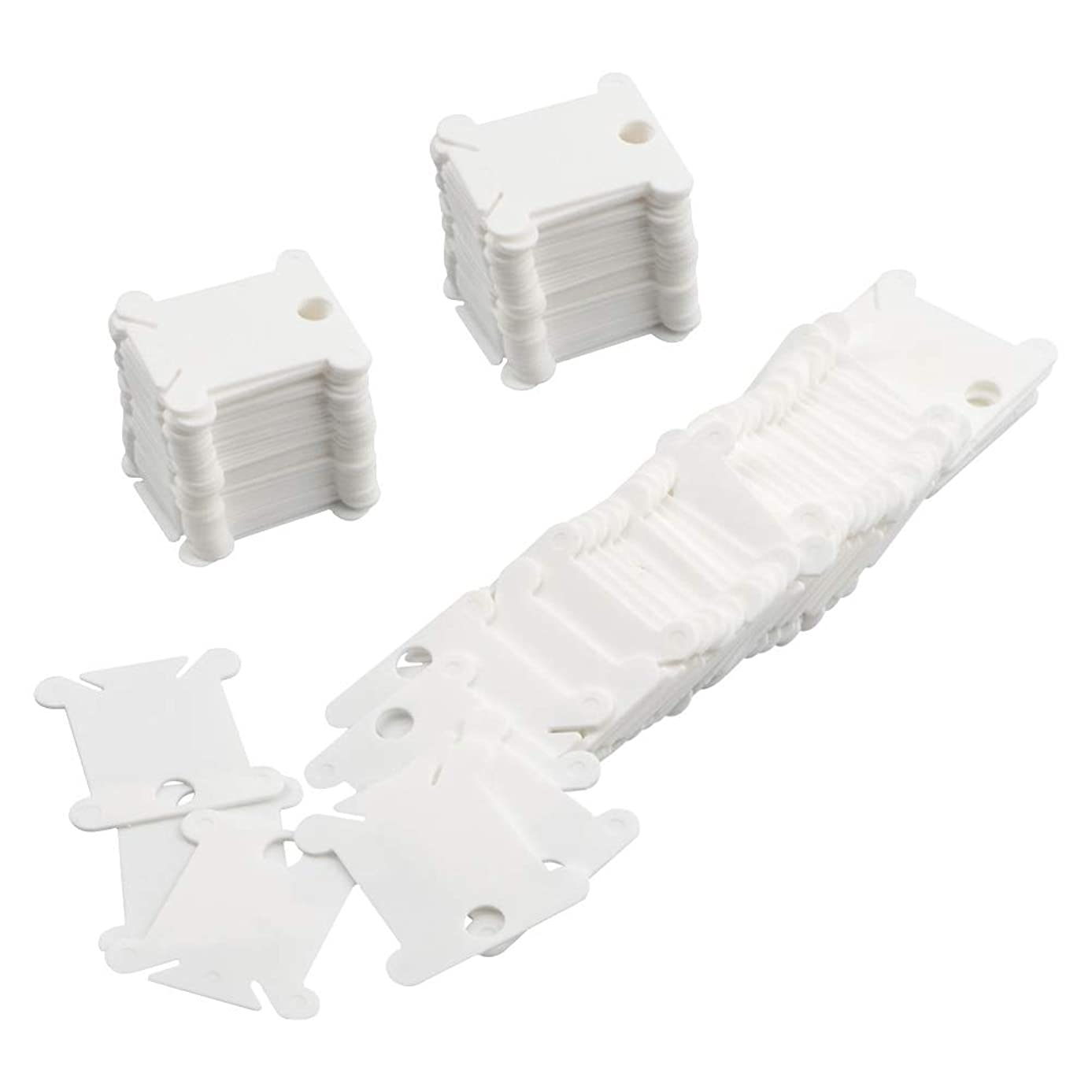COCODE Plastic Floss Bobbins for Cross Stitch Embroidery Cotton Thread Craft DIY Sewing Storage, White, 120 Pieces