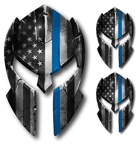 3 pack Thin Blue Line Molon Labe Spartan Helmet Gladiator Decal Come and Take it Police Fallen Officer Yeti Truck Car Van Window Vinyl Sticker