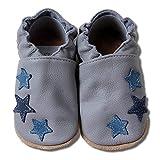 HOBEA-Germany Zapatos para niños y niñas en Diferentes diseños, Talla:22/23 (18-24 Meses),Gris con Estrellas Azules