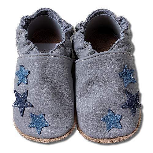HOBEA-Germany Krabbelschuhe für Jungs und Mädchen in verschiedenen Designs, grau mit blauen Sternchen, Schuhgröße:18/19 (6-12 Monate)