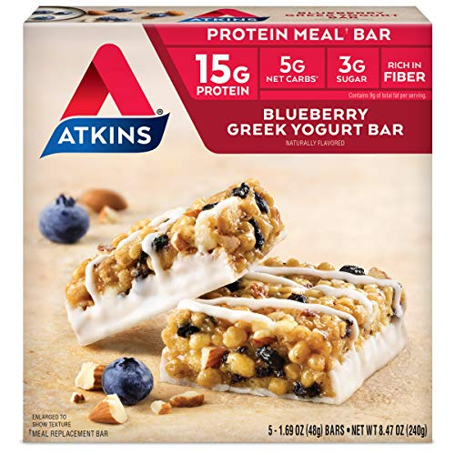 Atkins Blueberry Greek Yogurt Protein Meal Bar. Rich in Fiber....