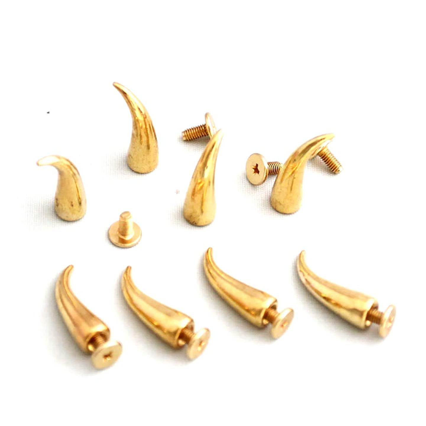 50Set 22mm X 7mm Copper Gold Tone Pepper Cat Paw Claw Shape Horn Spikes Screwback Pyramid Studs DIY Goth Punk Spot Rivets Metal Stud for Leather Cloth Craft Bullet Spike Bag Belt Clothes 1.02.2