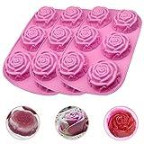 3 Pezzo Stampi 3D Forma di Fiore in Silicone Cake Bread Pie Flan Grande Rosa Fiore Forma Antiaderente Teglie Festa Cioccolato della Gelatina del Silicone del Ghiaccio Fondente della Muffa della