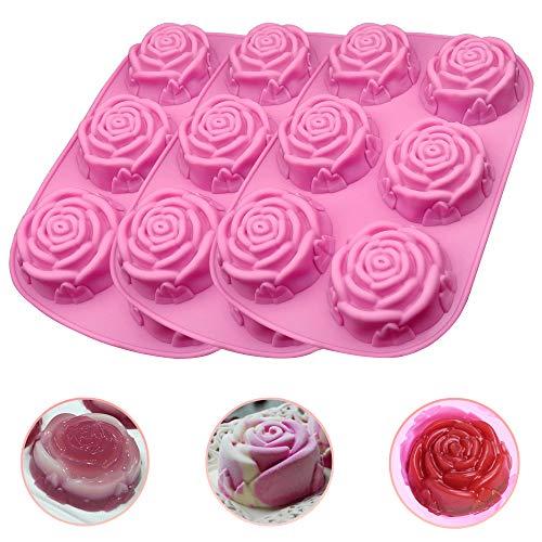 3 Pieza 3D Molde de Silicona Flores de Rosa en Forma de Molde de Silicona Moldes para Pasteles Plato Molde Silicona Reposteria para Hacer Bizcochos Gofres 6.46 * 9.68in