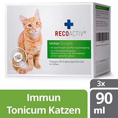 RECOACTIV® Immun Tonicum für Katzen, 3 x 90 ml, zur Vorbeugung und Immunstärkung der Katze, wirkungsvoller diätischer Appetitanreger für Katzen bei Appetitlosigkeit