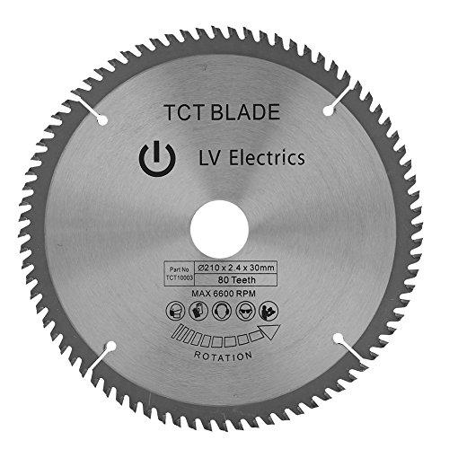 Hoja de sierra circular de 30 mm, hoja de corte de madera de 210 mm con 80 dientes de diámetro y 3 juntas tóricas