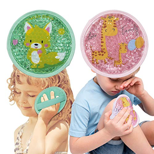 Kids Ice Packs for Boo Boos,2 Packs for Hot Cold Compress,Boo Boo Gel Ice Packs for Kids Adults Injuries,Pain Relief,Sore Joints,Fevers,Teething,First Aid,4.8Inch(Deer+Fox)