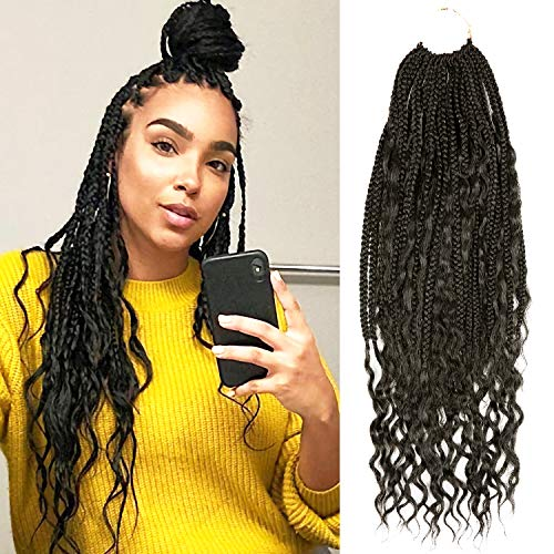 24 Inch 7 Pack(168 Strand) AU-THEN-TIC Boho Goddess Box Braids Crochet Hair Box Braid Crochet 24 Strand/Pack Hippie locs Bohemian Crochet Hair Extension, Free Gift (7-PACK, 1B)