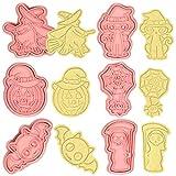 MEZHEN Formine per Biscotti Halloween Tagliabiscotti Zucca Stampi Biscotti Halloween 3D Pipistrello Fantasma Gatto Stampo per Biscotti Cookie Cutter Cappello da Strega Ragno Taglia Biscotti