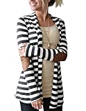 Myobe Women's Cardigans Black White Elbow Patch Shawl Collar Lighweight Striped Open Front Cardigan Sweaters Casual Blazers for Women, Dark Grey, S