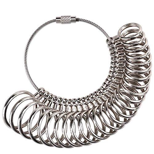 Meowoo Ringstock Ringgrössenmesser Metall Oder Kunststoff Ringmaß Ringmesser, Größenstandard UK, EU, USA und Schweiz(Metallring)